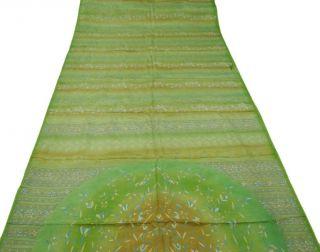 Weinlese Saree Art Silk Floral Printed Indien Sari Stoff Grün Deco Kleid Handwer Bild