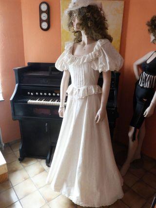 Antikes Damenkleid Vermutl.  Um 1900,  Mit Hut,  3 Unterröcke Davon Ein Reifrock Bild