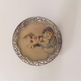 Schöner Großer Alter Knopf Button Portrait Miniatur Um 1900 Bouton Bottone Bild