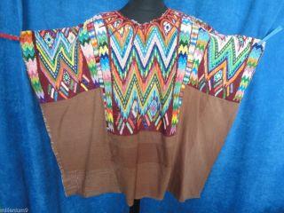 Poncho Cape Stoff Handarbeit Gewebt Indianer Inka Hippie Folklore Braun Vintage Bild