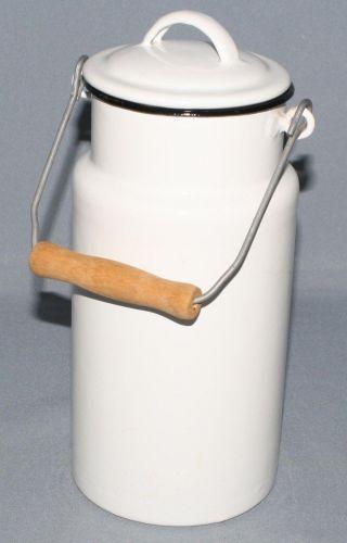 Alte Landhaus Emaille Milchkanne Ca.  2 Liter Mit Henkel & Deckel Weiß Gh Bavaria Bild