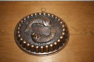 Alte Kupfer Backform Gugelhupf Deco Gugelhuopfform Aus Kupfer Mit Fischmotiv Bild