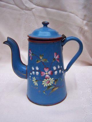 Alte,  Blaue,  Beidseitig Bemalte Kanne,  18 Cm Bild