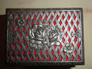 Metall Schatulle Schatzkiste Dose Rosenmuster Silberfarben 9x6,  5x5,  5 Cm Bild