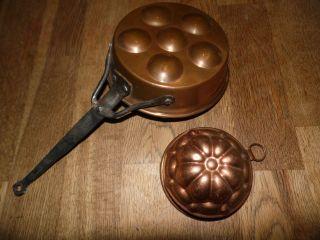 Alte Kupfer Backform Alte Kupferpfanne Verzinnt Eierpfanne Shabby Antik Bild