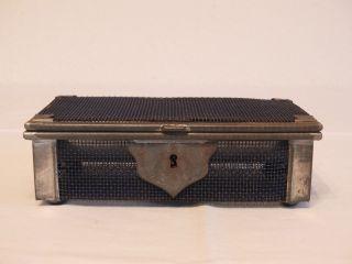 Orginelle Antike Geldkassette,  Metallrahmen,  Drahtgitter,  Beschlag M.  Verzierung Bild