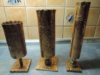 3 Kupfer Vasen,  Krug,  Becher,  Gehämmert,  Stiel Aus Messing,  Sockel Kupfer Bild