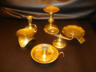 9 Kerzenhalter Aus Messing - Konvolut Bild