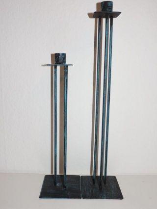 2 Handgefertigte Kerzenständer Aus Metall,  Blau Gebürstet,  Unbed.  Lesen,  Top Bild