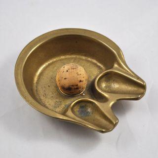 Messing Pfeiffenaschenbecher / Aschenbecher Mit Korkball (brass Ashtray) Bild