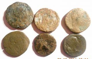 6 Römische Bronze Münzen,  2 Asse,  Dublone,  Sisterz Bild