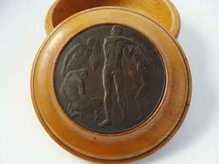 Jugendstil Holz Dose Mit Eingelassener Bruno Eyermann Bronze Plakette Medaille Bild
