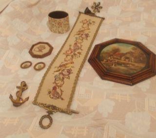 Gobelin Glockenband Messing Glocke Türklopfer Box Dachbodenfund Konvolut 7teile Bild