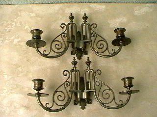 2 Alte Klavierleuchter,  Wandkerzenleuchter,  Kerzenleuchter,  Aus Metall Bild