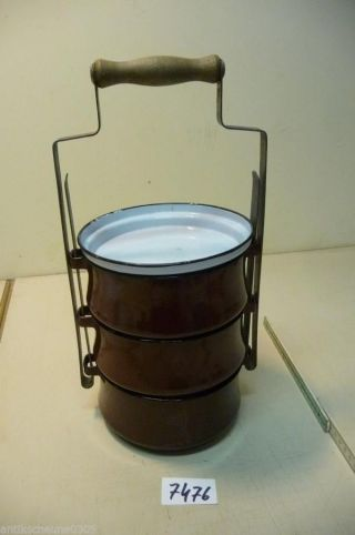 7476.  Alte Emaille Topf Topfset Email Old Enamelware Pot Bild