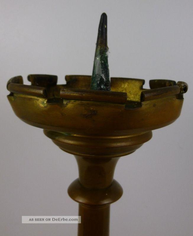 Alter Scheibenleuchter Messing/bronze - Höhe 41 Cm (82 - 12) Bronze Bild
