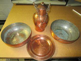 Konvolut Alte Kupfer 4 Teile Persien Zwei Schale 1 Wandteller 1 Deckel Kanne Bild