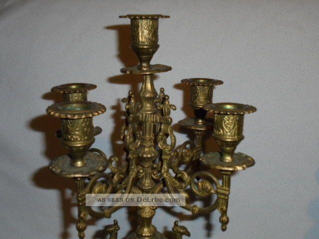 Antik 5 Armiger 2 X Kerzenständer Barock Tischleuchter Aus Messing Je Ca 2,  2kg Gefertigt nach 1945 Bild
