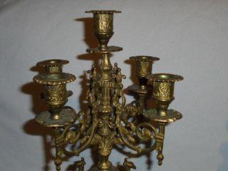 Antik 5 Armiger 2 X Kerzenständer Barock Tischleuchter Aus Messing Je Ca 2,  2kg Bild