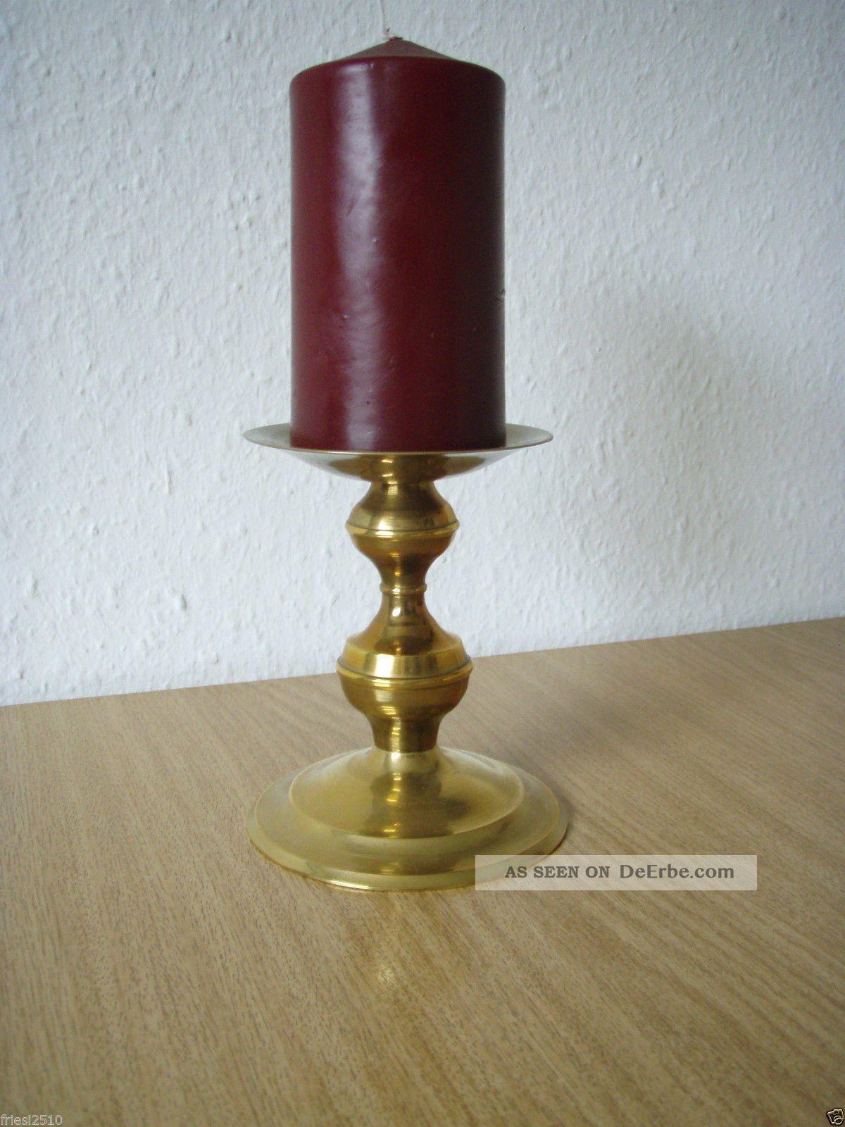 Stilvoller Messing Kerzenhalter Kerzenständer Größe Ca.  11,  5 Cm Gefertigt nach 1945 Bild