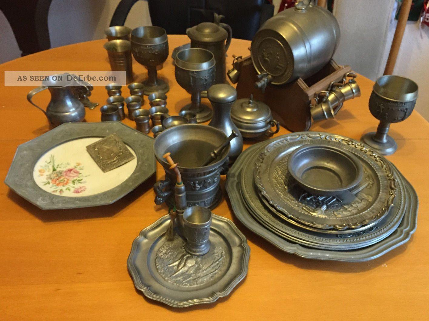 Zinn Zinnsammlung Zinnschrott 17 Kilo Plus 20 Gramm 925 Silberanhänger Gefertigt nach 1945 Bild