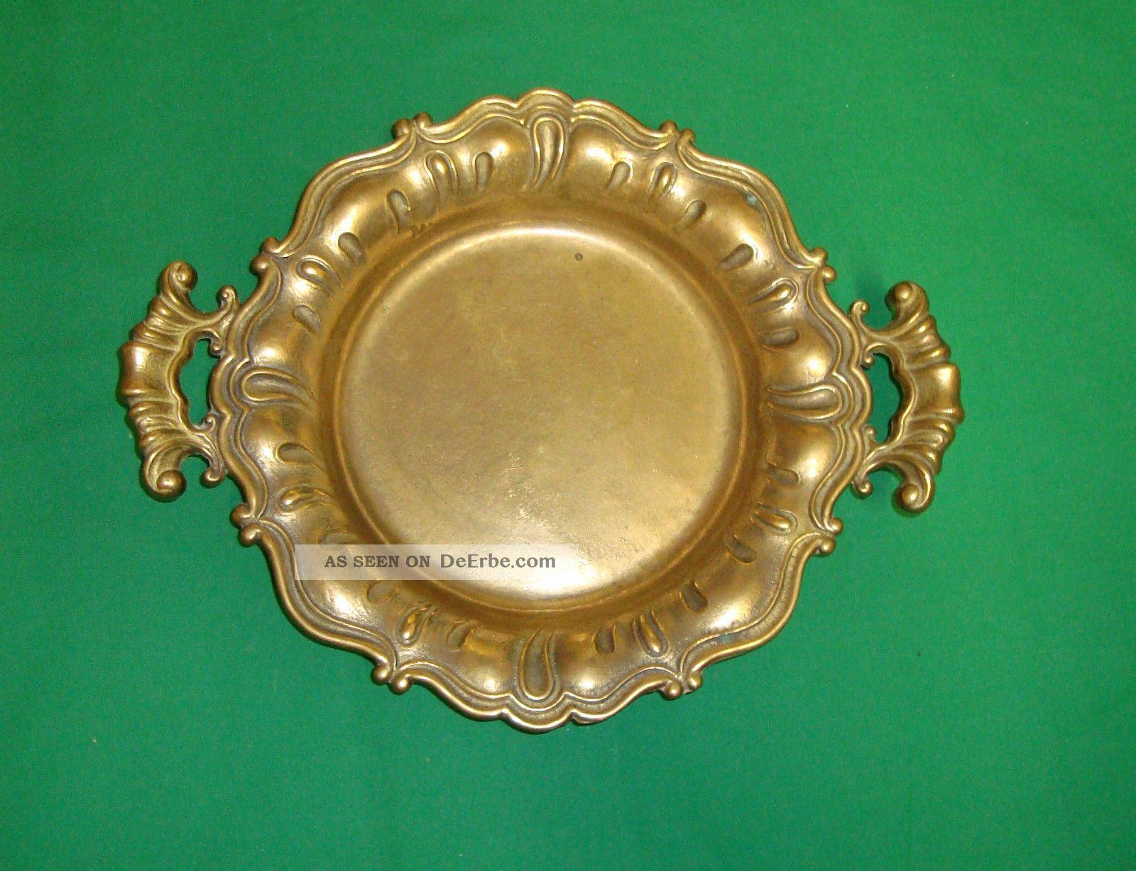 Messingschale 28cm Durchmesser Aus Italien Reines Messing Gefertigt nach 1945 Bild