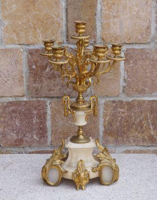 Kerzenleuchter Um 1880 - Feuervergoldete Bronze Und Alabaster (3164) Bild