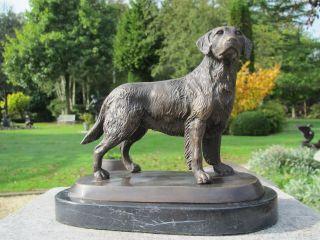 WunderschÖner Lebensechter Bronze Labrador Hund Auf Marmorsockel Bild