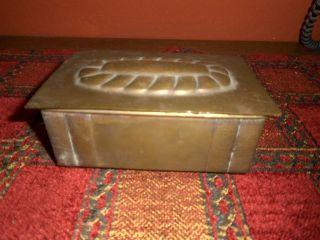 Vintage Messing Schatulle Für Zigarren Innen Mit Zedernholz Aus Familienbesitz Bild