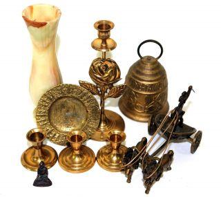 9 Zierobjekte: Messing - Glocke,  - KerzenstÄnder,  - Teller,  - Skulpturen & Marmorvase Bild