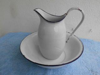 Alt Antik Emaille Waschgarnitur Schüssel Waschschüssel Krug Kanne Wasserkanne Bild