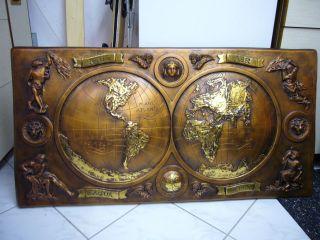 Kupferstich Kupferbild Weltkarte Mit 23 Karat Echtgold Verziert Ca.  21 Kg Bild