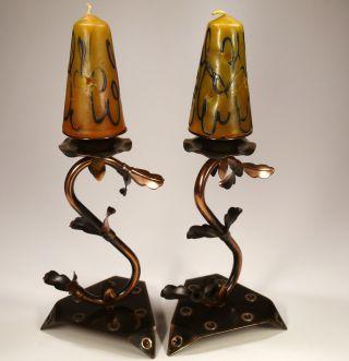2 SchÖne Kupfer KerzenstÄnder Gleich Mit Den Passenden Kerzen Bild