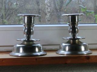 Zwei Zinn Kerzenleuchter Kerzenständer Norwegen Punze Bild