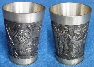 Sammlerstück Zinn Großer Schwerer Trinkbecher Mit 2 Unterschiedlichen Reliefs 6 Bild