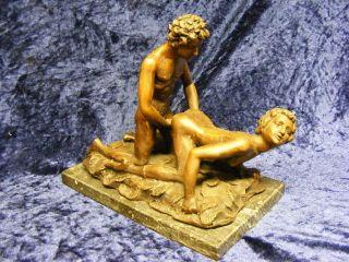 Sehr Seltene Antike 6kg Schwere Bronze Auf Marmorsockel Aktmodell Signiert Bild