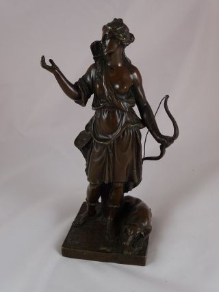 Top Bronze Skulptur Bronze Figur Bronzestatue Göttin Der Jagd Diana Jägerin Bild