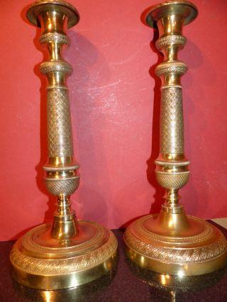 Empire Biedermeier Kerzenhalter Kerzenleuchter Frankreich Um 1820 Bronze Messing Bild