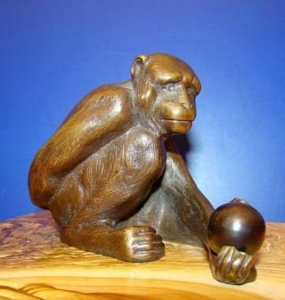 Seltene Antike Bronze Figur Schimpanse Mit Kugel Bild