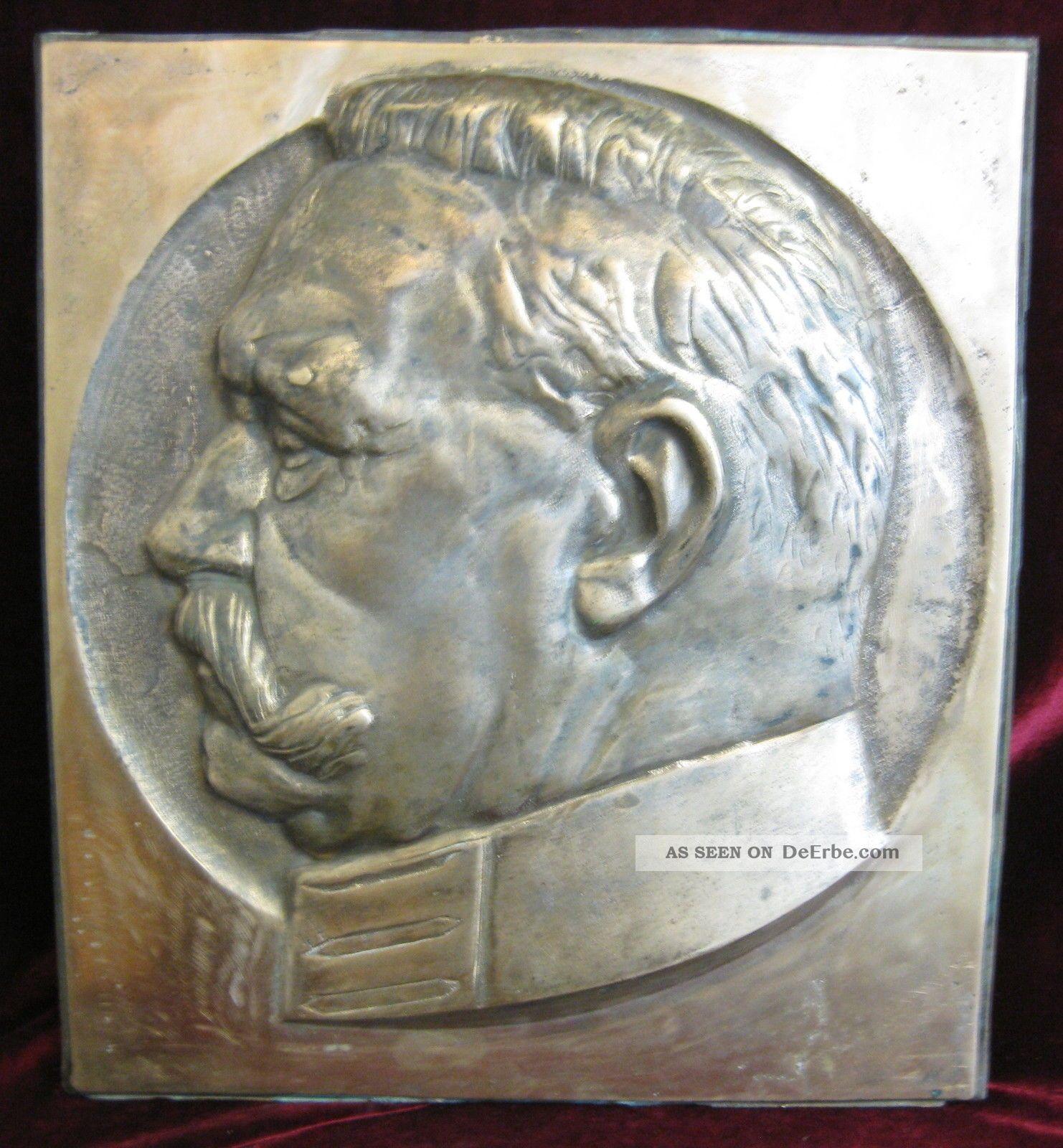 Sammeln & Seltenes Antik Großes Bronzerelief Mit Paul Von Hindenburg Um 1920
