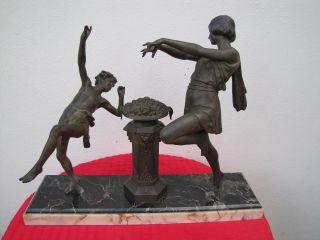 Tänzerin Mit Jungem Tänzer Auf Marmorsockel Ca 1880 - 1900 Fabrication Francaise Bild