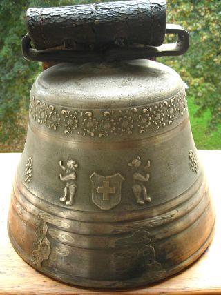 Sehr Selten Xxl Große Antike Schweizer Kuhglocke,  Schelle Aus Bronze Bild