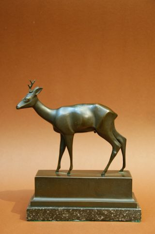 Alte Bronze Skulptur - Reh - Signiert Mühlberger Bild