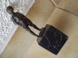 Antike Originale Bronze - Figur Auf Einem Marmorsockel Unbeschädigt - 19.  Jhd Bild