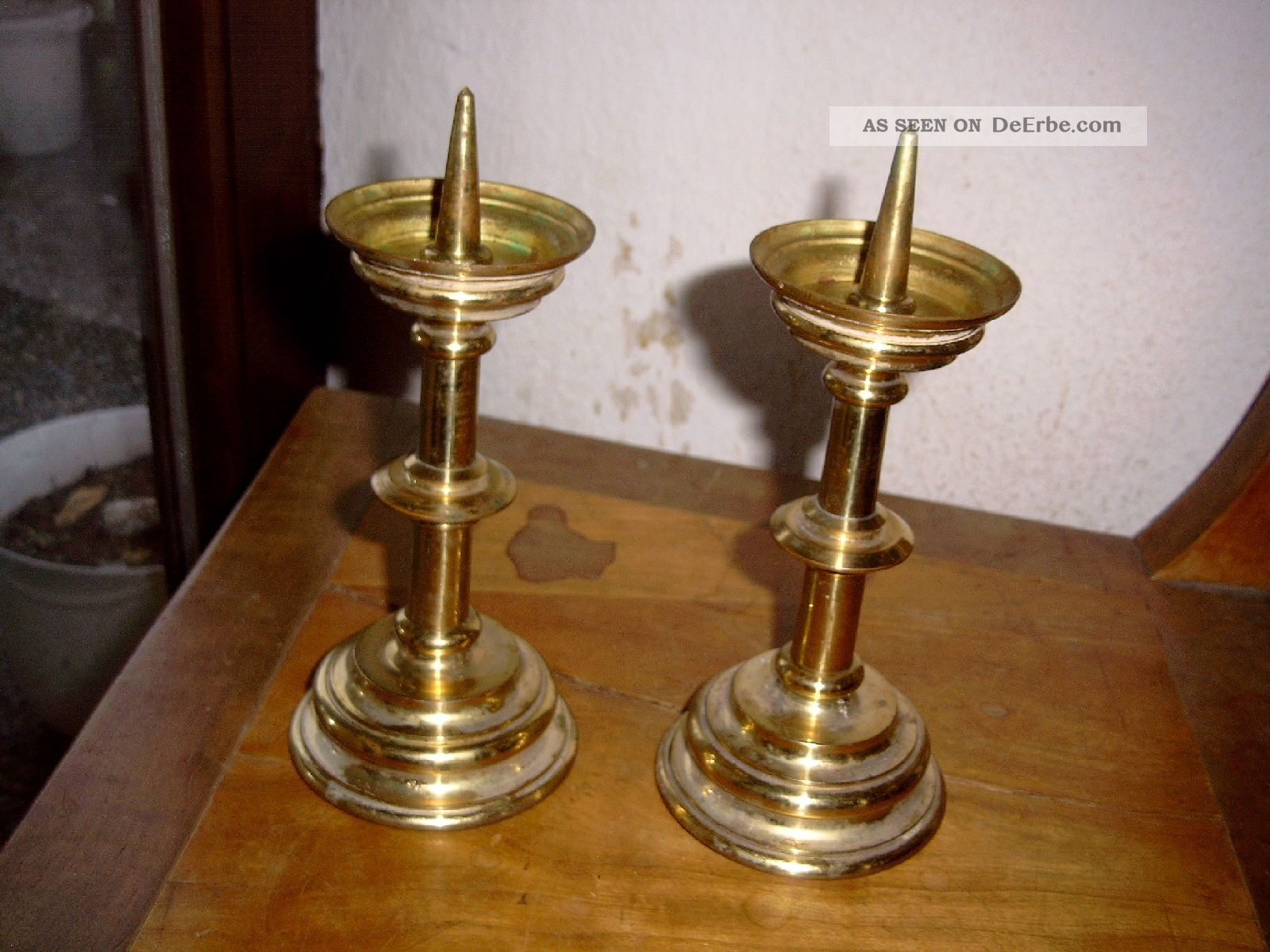 paar kerzenleuchter ca 1890 im stil von scheibenleuchter messing candle stick. Black Bedroom Furniture Sets. Home Design Ideas