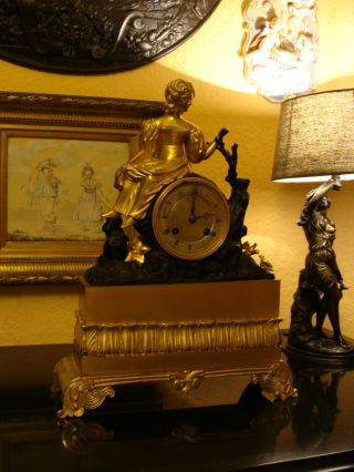 Pendule Kaminuhr Tischuhr Bronze Vergoldet Biedermeier Pastorale Um 1850 Paris ? Bild