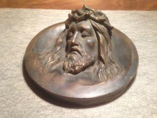 Antike Bronze Bronzefigur Figur Skulptur Jesus Bild Wandrelief Wandteller 1900 Bild