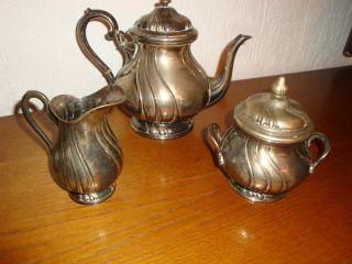 Kanne - Milchkanne - Zuckerdose - 3 Tlg Versilbert Historismus Stil - Gestempelt Bild