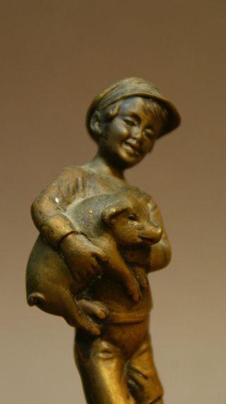 Alte Wienerbronze ' Hans Mit Glücksschwein ' Figur Aus Bronze Auf Marmor Sockel Bild