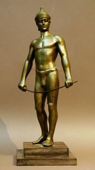Alte Rarität ' Gladiator ' Figur Aus Bronze Auf Holz Sockel Bild